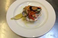 Seafood salad - Octopus, cuttlefish, mussels finished with home made marinated vegetables